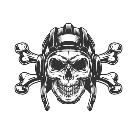 Crâne monochrome vintage dans un casque de tankiste avec illustration vectorielle isolée d'os croisés