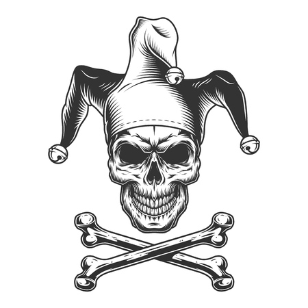 Vintage monochrome jester skull with crossbones isolated vector illustration