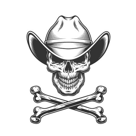 Vintage monochrome cowboy skull and crossbones isolated vector illustration
