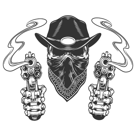 Skull in cowboy hat and scarf with skeleton hands holding revolvers in vintage monochrome style isolated vector illustration