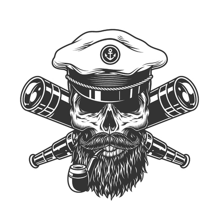 Bearded and mustached sea captain skull with smoking pipe and crossed spyglasses in vintage style isolated vector illustration