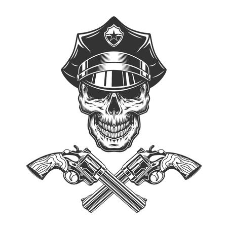 Vintage monochrome skull in police hat with crossed pistols isolated vector illustration
