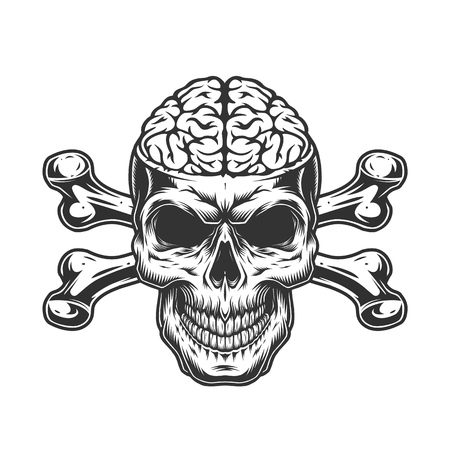 Skull with human brain and crossbones in vintage monochrome style isolated vector illustration