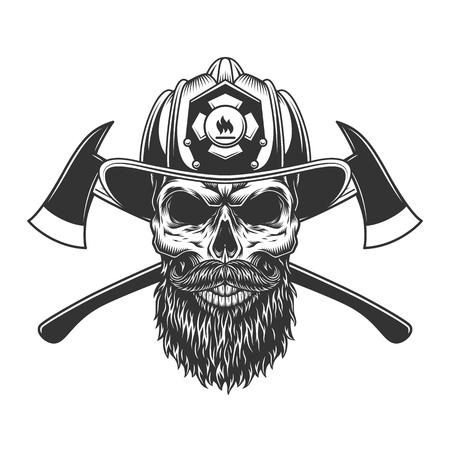 Cranio di vigile del fuoco barbuto e baffuto nel casco del pompiere con asce incrociate illustrazione vettoriale isolata