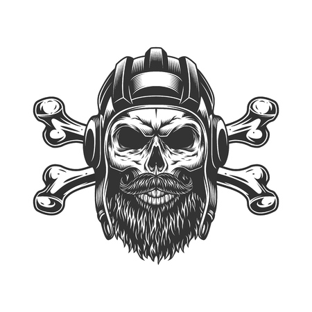 Bearded and mustached tankman skull with crossbones in vintage monochrome style isolated vector illustration