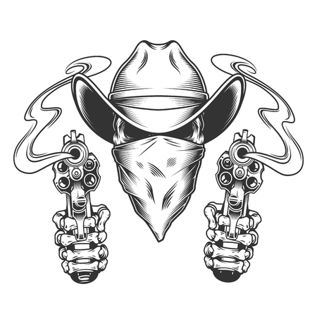Skull in cowboy hat and scarf with skeleton hands holding pistols in vintage style isolated vector illustration