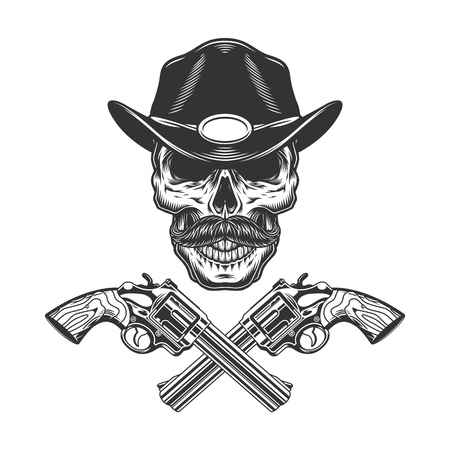 Vintage monochrome mustached sheriff skull with crossed revolvers isolated vector illustration Иллюстрация