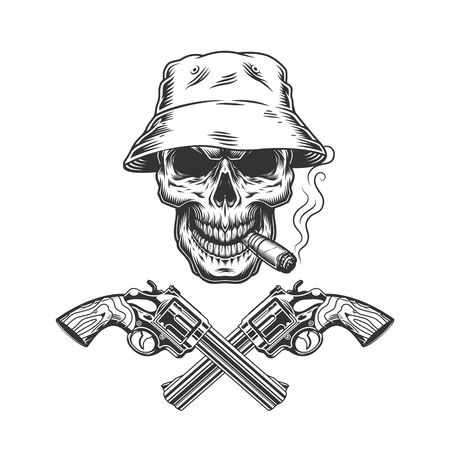 Skull smoking cigar in panama hat with crossed pistols in vintage monochrome style isolated vector illustration 写真素材 - 115207303