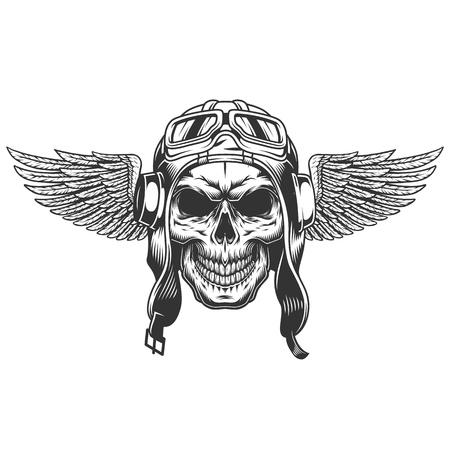 Illustrazione vettoriale isolata teschio pilota alato monocromatico vintage