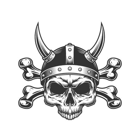 Vintage viking skull in horned helmet and crossbones isolated vector illustration