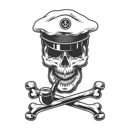 Vintage monochrome sea captain skull smoking pipe with crossbones isolated vector illustration