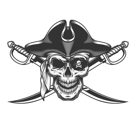 Vintage monochromatyczna czaszka w pirackim kapeluszu z przepaską na oko i skrzyżowanymi mieczami na białym tle ilustracji wektorowych