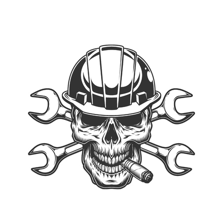 Vintage monochrome builder skull smoking cigar with crossed wrenches isolated vector illustration