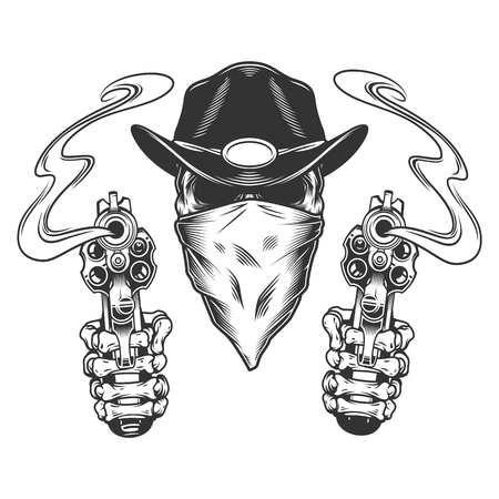 Vintage monochrome cowboy skull with scarf and skeleton hands holding pistols isolated vector illustration 일러스트
