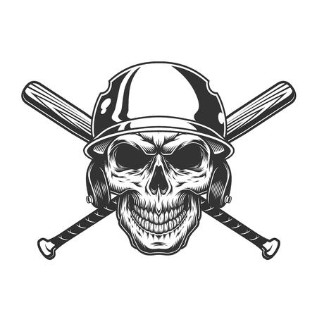 Vintage monochrome skull in baseball helmet with crossed bats isolated vector illustration Illustration