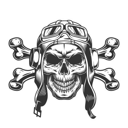 Cráneo en casco de piloto y gafas con tibias cruzadas en estilo monocromo vintage aislado ilustración vectorial