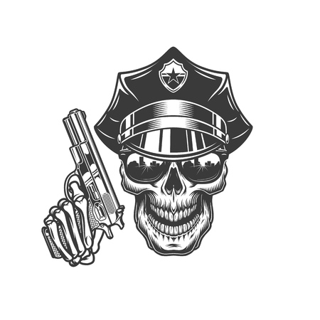 Skull in police hat and sunglasses with skeleton hand holding revolver in vintage style isolated vector illustration