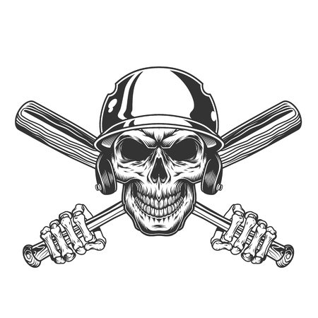 Vintage skull in baseball helmet with skeleton hands holding crossed bats isolated vector illustration