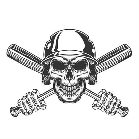 Vintage skull in baseball helmet with skeleton hands holding crossed bats isolated vector illustration Stock fotó - 115207320