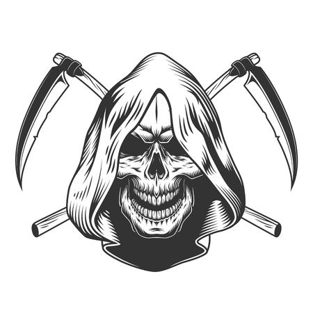 Vintage monochrome reaper skull in hood with crossed scythes isolated vector illustration