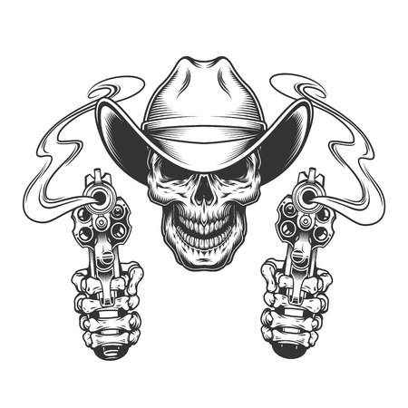 Vintage monochrome skull in cowboy hat and skeleton hands holding pistols isolated vector illustration