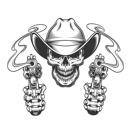 Vintage monochromer Schädel in Cowboyhut und Skeletthänden, die Pistolen halten, isolierte Vektorillustration vector