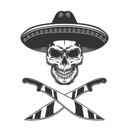 Vintage monochrome mexican skull in sombrero with crossed knives isolated vector illustration