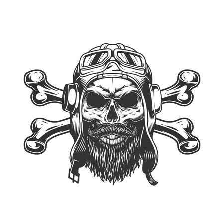Bearded and mustached military skull in pilot helmet and goggles with crossbones in vintage style isolated vector illustration