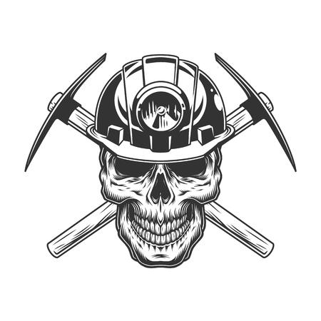 Cranio monocromatico vintage in casco da minatore con picconi incrociati illustrazione vettoriale isolato Vettoriali