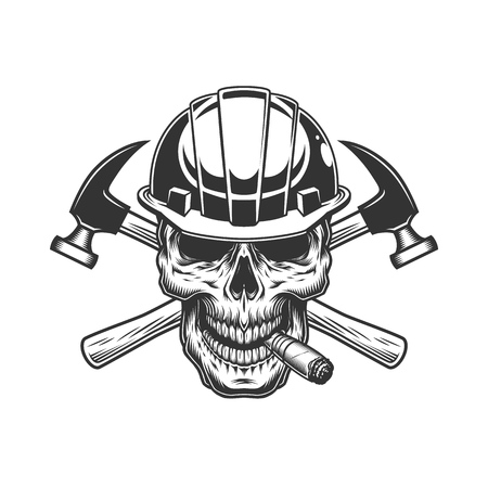 Builder skull smoking cigar with crossed hammers in vintage monochrome style isolated vector illustration