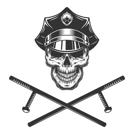 Cráneo de policía con bastones de policía cruzados en estilo monocromo vintage aislado ilustración vectorial