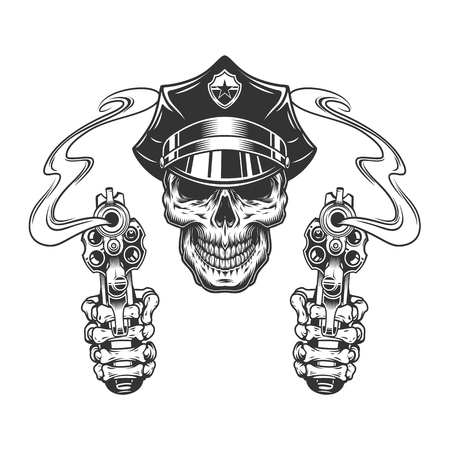 Vintage skull in police hat and skeleton hands holding pistols isolated vector illustration