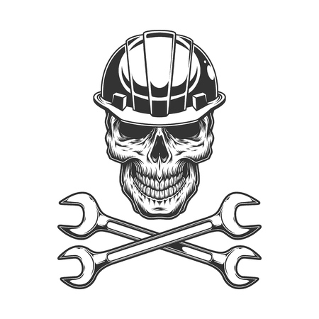 Vintage monochrome skull in builder helmet with crossed wrenches isolated vector illustration