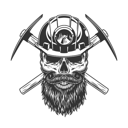 Bearded and mustached miner skull with crossed pickaxes in vintage monochrome style isolated vector illustration Illustration