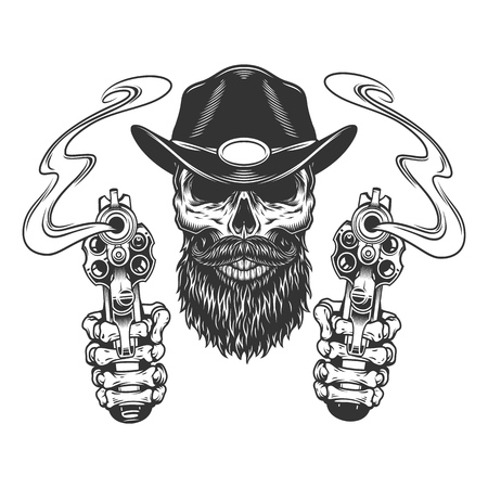 Vintage bearded and mustached sheriff skull with skeleton hands holding pistols isolated vector illustration