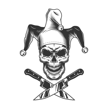Vintage monochrome evil jester skull with crossed knives isolated vector illustration