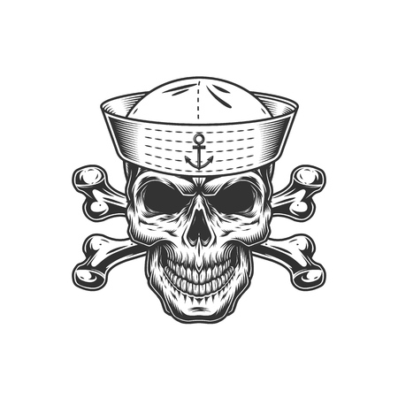 Vintage monochrome skull in sailor hat with crossbones isolated vector illustration