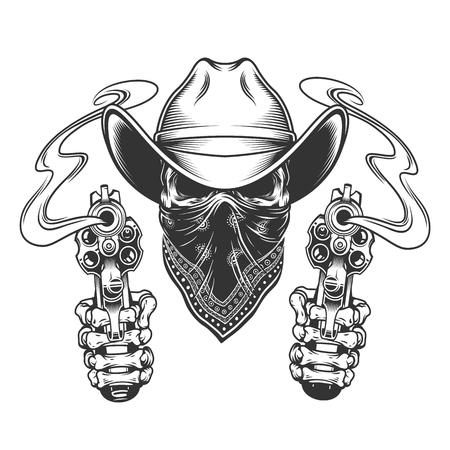 Teschio da cowboy con sciarpa sul viso e mani scheletriche che tengono pistole in stile vintage illustrazione vettoriale isolato Vettoriali