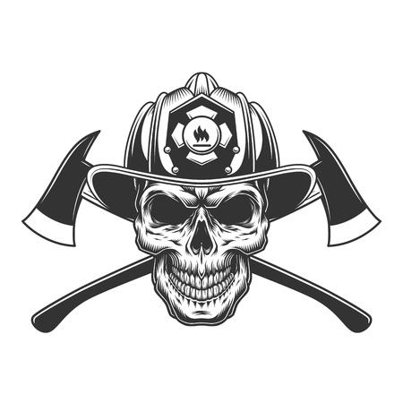 Crâne de pompier vintage dans un casque de pompier avec des axes croisés en illustration vectorielle isolée de style monochrome