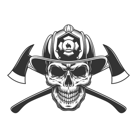 Vintage fireman skull in firefighter helmet with crossed axes in monochrome style isolated vector illustration Stock Illustratie