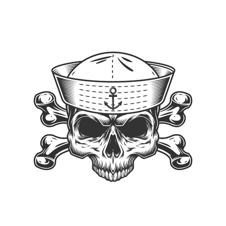 Vintage mariner skull without jaw and crossbones isolated vector illustration Illustration