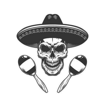Vintage monochrome skull in sombrero hat with mexican maracas isolated vector illustration