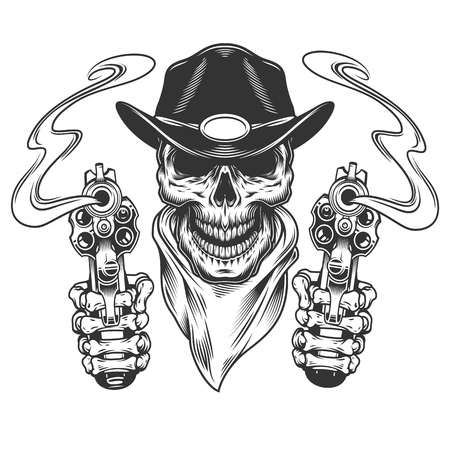 Vintage cowboy skull in neck bandana with skeleton hands holding guns isolated vector illustration Иллюстрация
