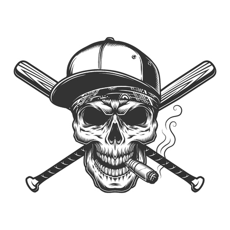 Vintage monochrome skull in baseball cap with cigar and crossed bats isolated vector illustration