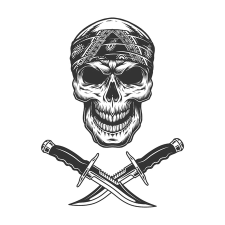 Vintage monochrome skull in bandana and crossed knives isolated vector illustration