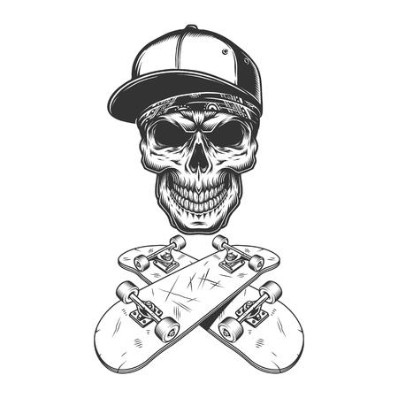 Skateboarder skull in baseball cap and bandana with crossed skateboards in vintage monochrome style isolated vector illustration