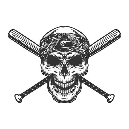 Cráneo de bandido monocromo vintage en pañuelo con bates de béisbol cruzados aislados ilustración vectorial