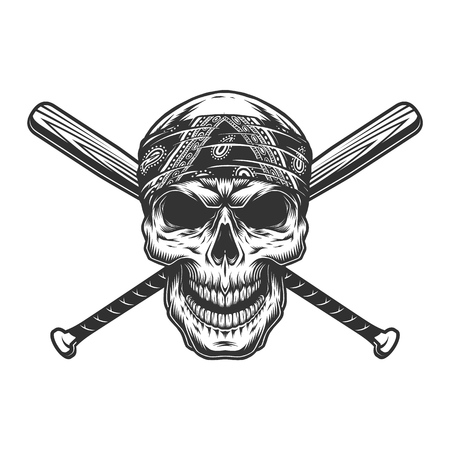 Vintage monochrome bandit skull in bandana with crossed baseball bats isolated vector illustration Ilustrace