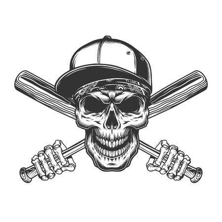 Crâne en casquette de baseball et bandana avec des mains squelettes tenant des chauves-souris en illustration vectorielle isolée de style monochrome vintage Vecteurs