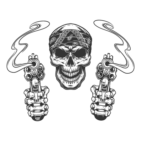 Vintage monochrome skull in bandana with skeleton hands holding pistols isolated vector illustration